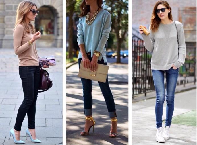 С чем носить женские джинсы скинни
