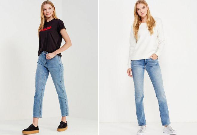 С чем носить женские прямые джинсы