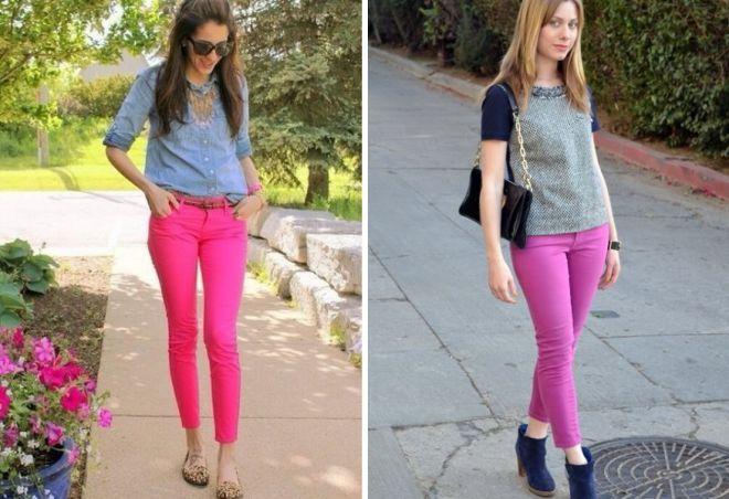 С чем носить женские розовые джинсы