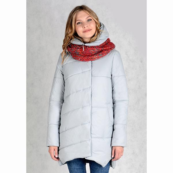 Серая практичная куртка для зимы с теплым наполнителем