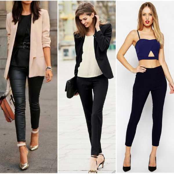 Синие узкие брюки могут быть аналогом черных
