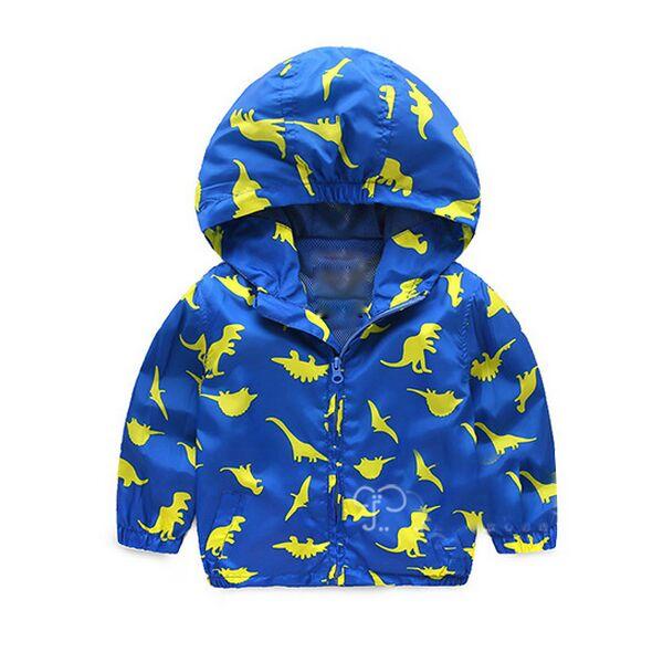Синяя куртка с динозаврами