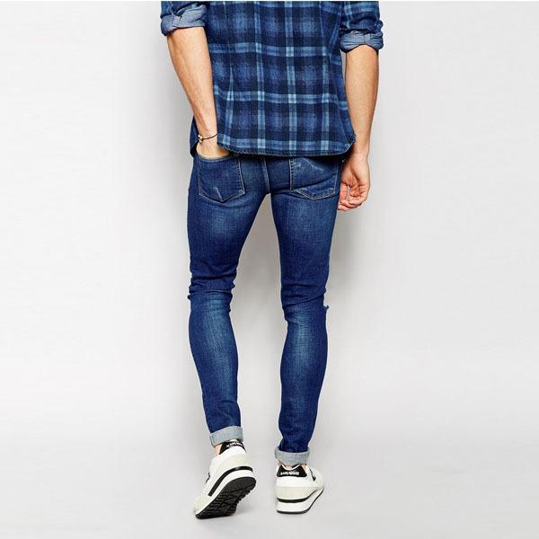 Супероблегающие синие штаны