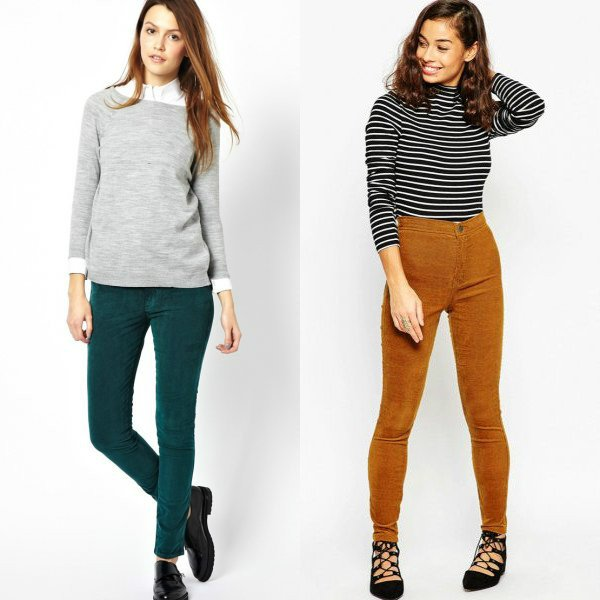Цветная вельветовая одежда