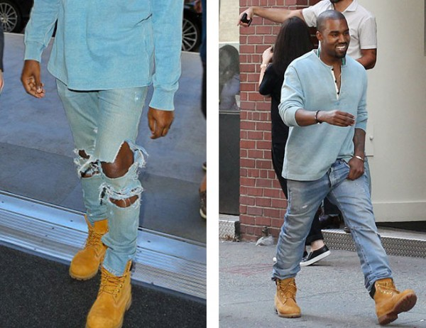 Тимберленды и светлые джинсы