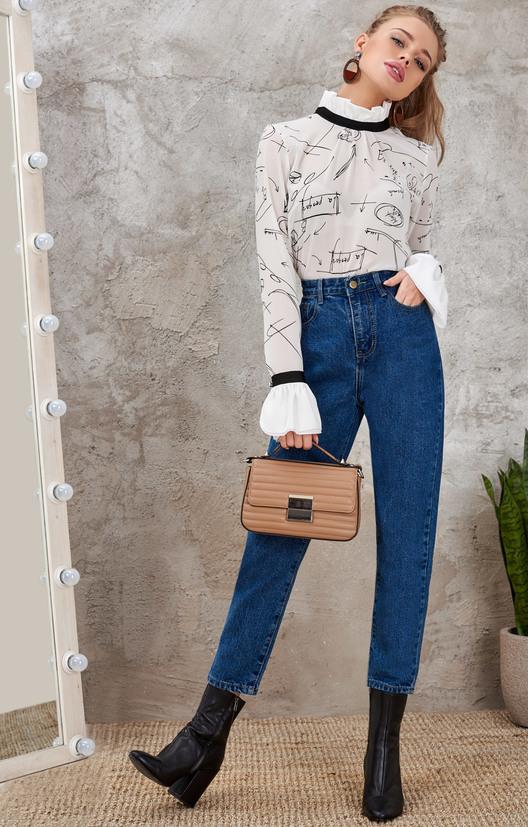 Укороченные джинсы-бойфренды чернильного цвета