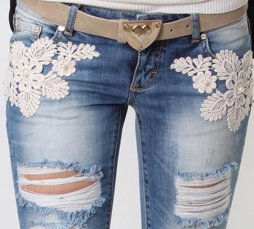 Украшаем джинсы кружевом