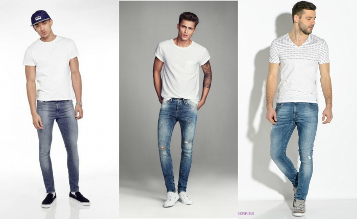 Узкие джинсы гармонично смотрятся с приталенным жакетом