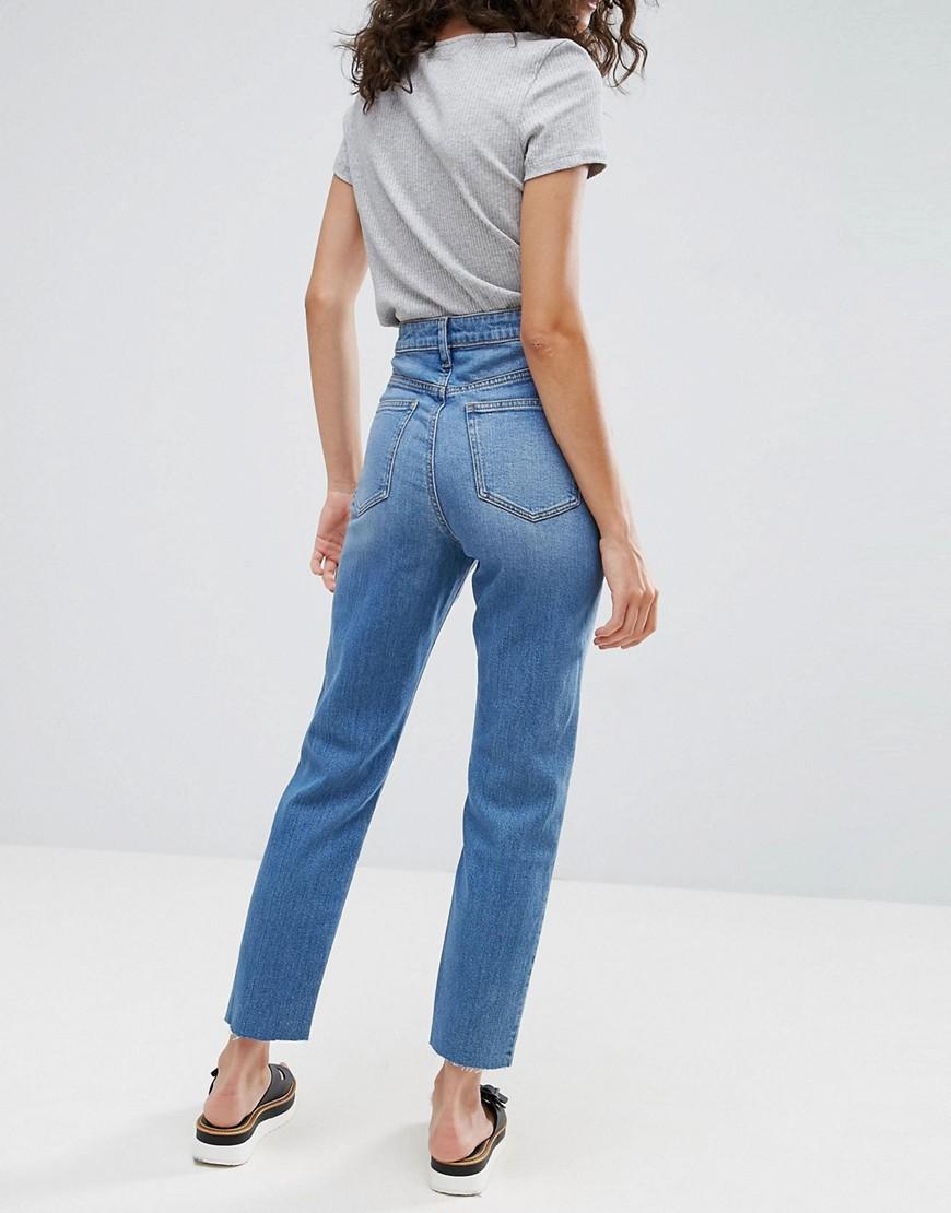 Узкие джинсы в винтажном стиле с завышенной талией