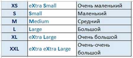 Варианты размеров