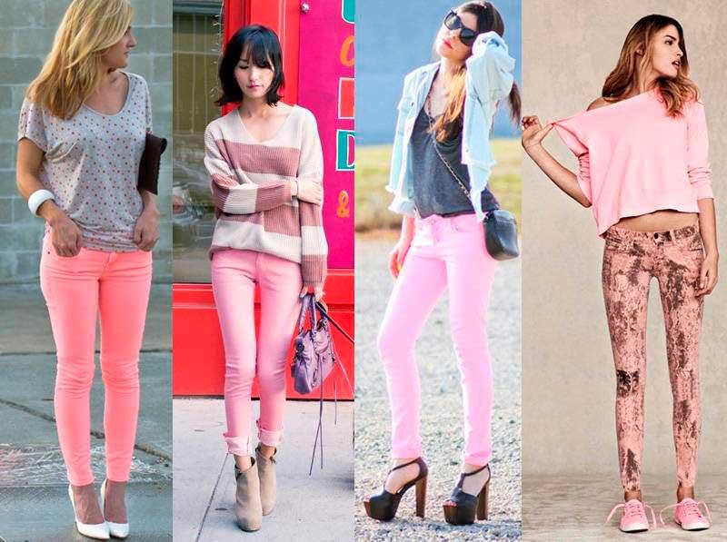 Варианты розовых джинсов