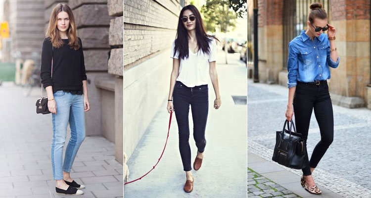 Женские джинсы skinny с мокасинами