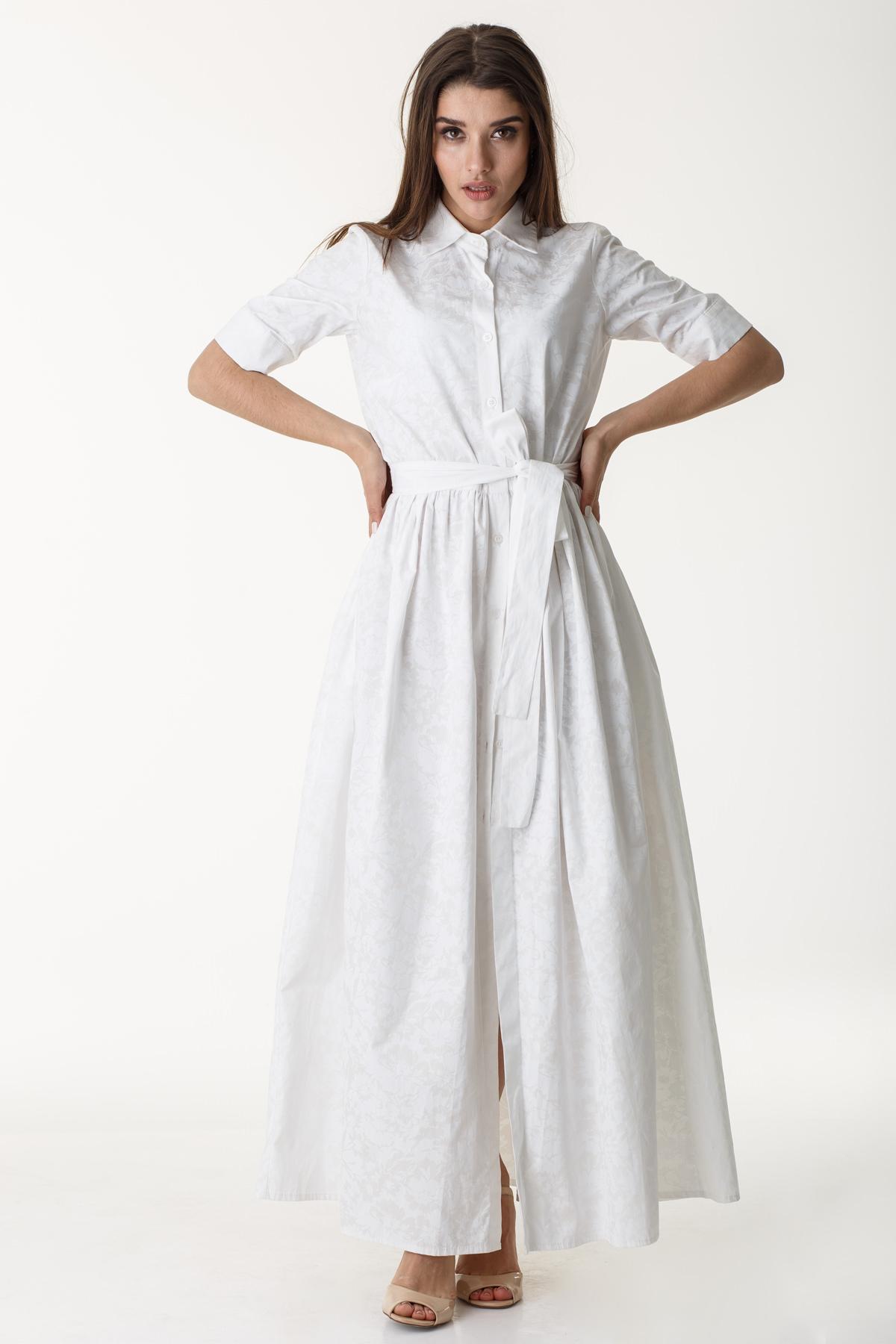 Белое длинное повседневное платье