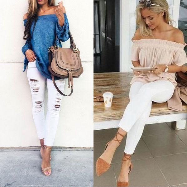 Белые рваные современные джинсы