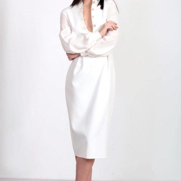 Белый цвет длинного платья