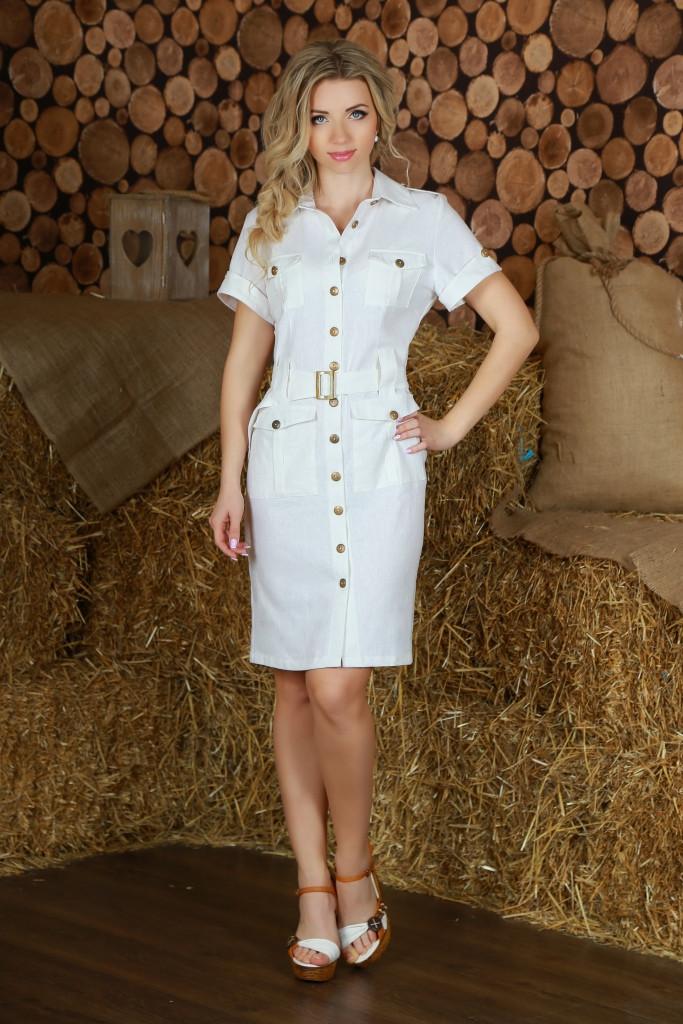 Белый цвет современного фасона платья