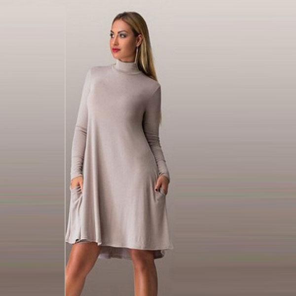 Бежевое платье-трапеция с асимметричным низом
