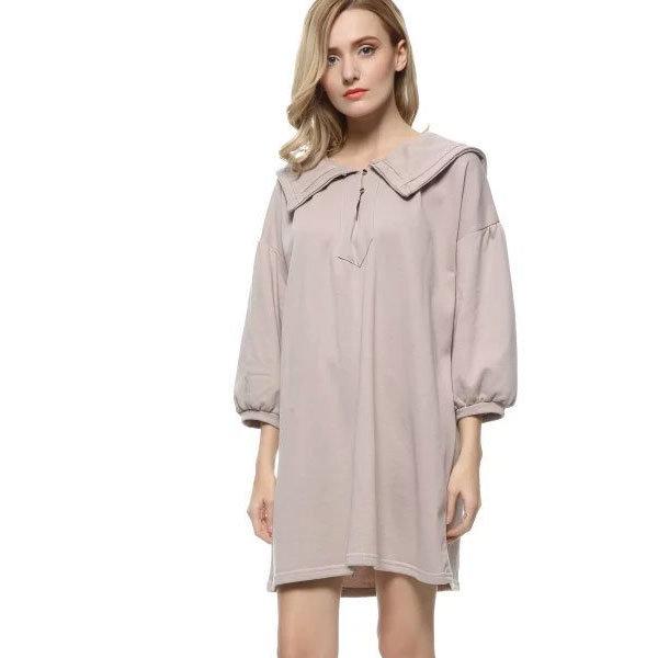 Бежевое платье-трапеция с рукавами-фонариками