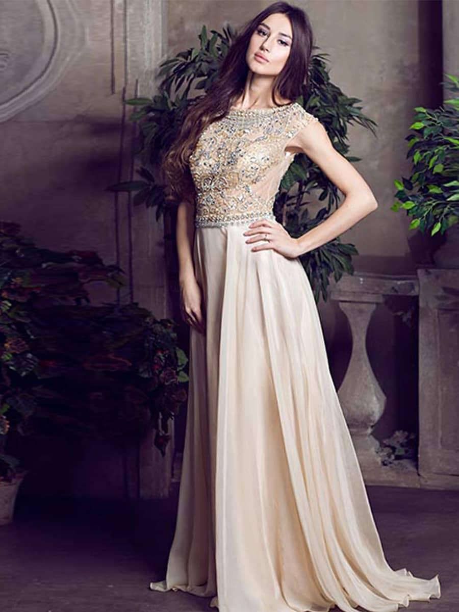 Бежевое вечернее платье на свадьбу