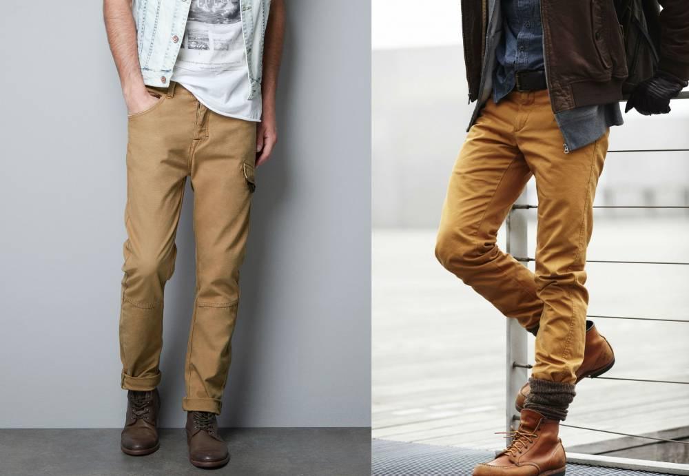Бежевые брюки мужские