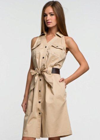 Бежевый оттенок современного фасона платья