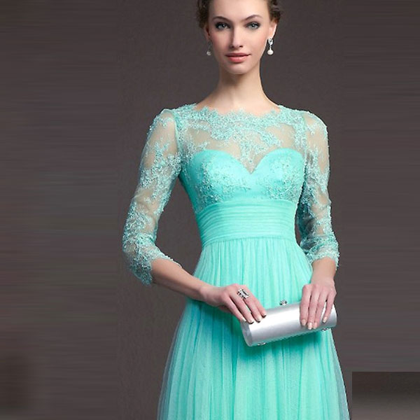 Бирюзовое вечернее платье в пол с кружевным верхом и рукавами