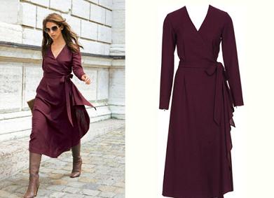 Бордовое платье-халат с запахом
