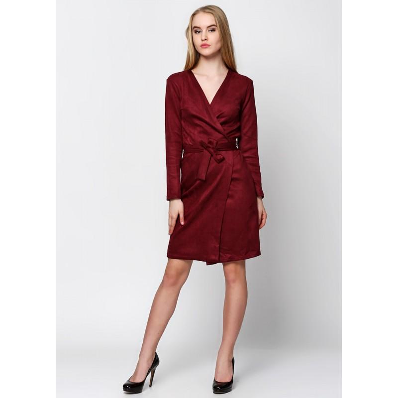 Бордовое платье халат