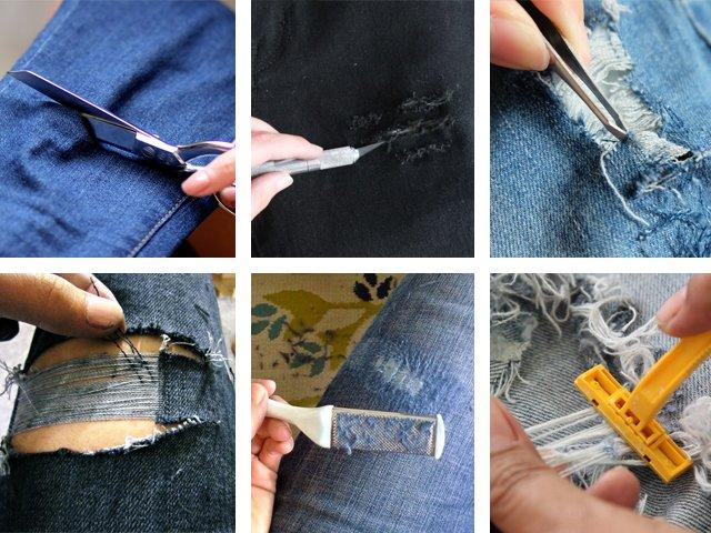 Чем делать дырки на джинсах