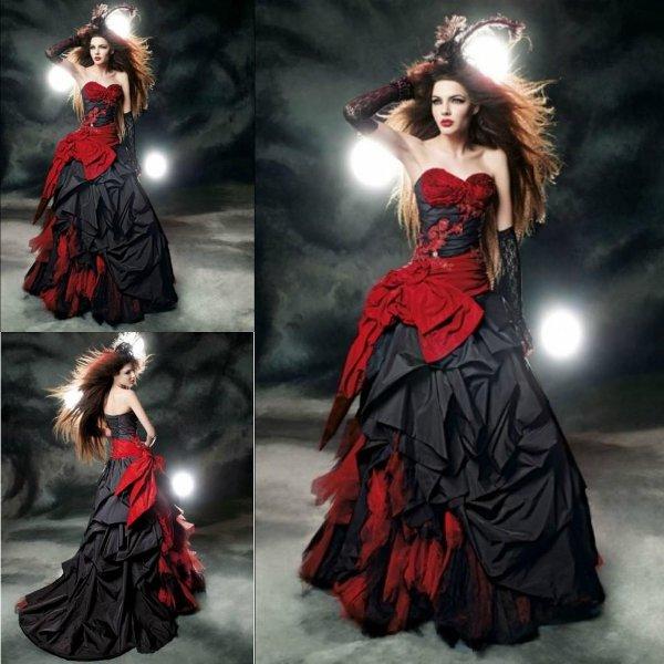 Черно-красное платье