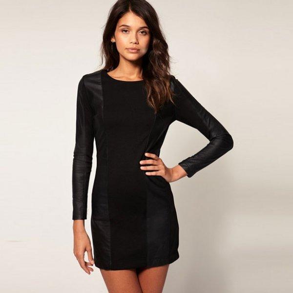 Черное платье с длинными рукавами и кожаными вставками
