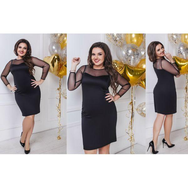 Черное платье с сеточкой