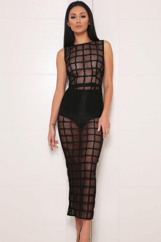 Черное прозрачное платье в клетку
