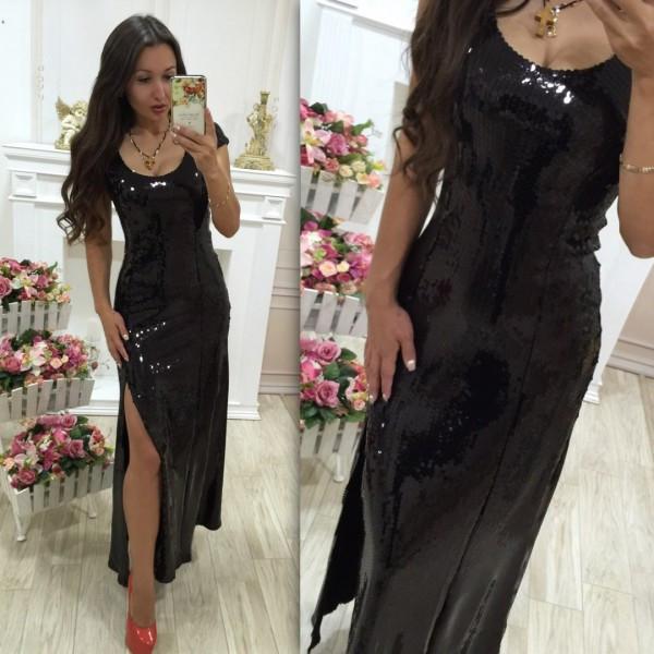 Черное вечернее платье из пайеток