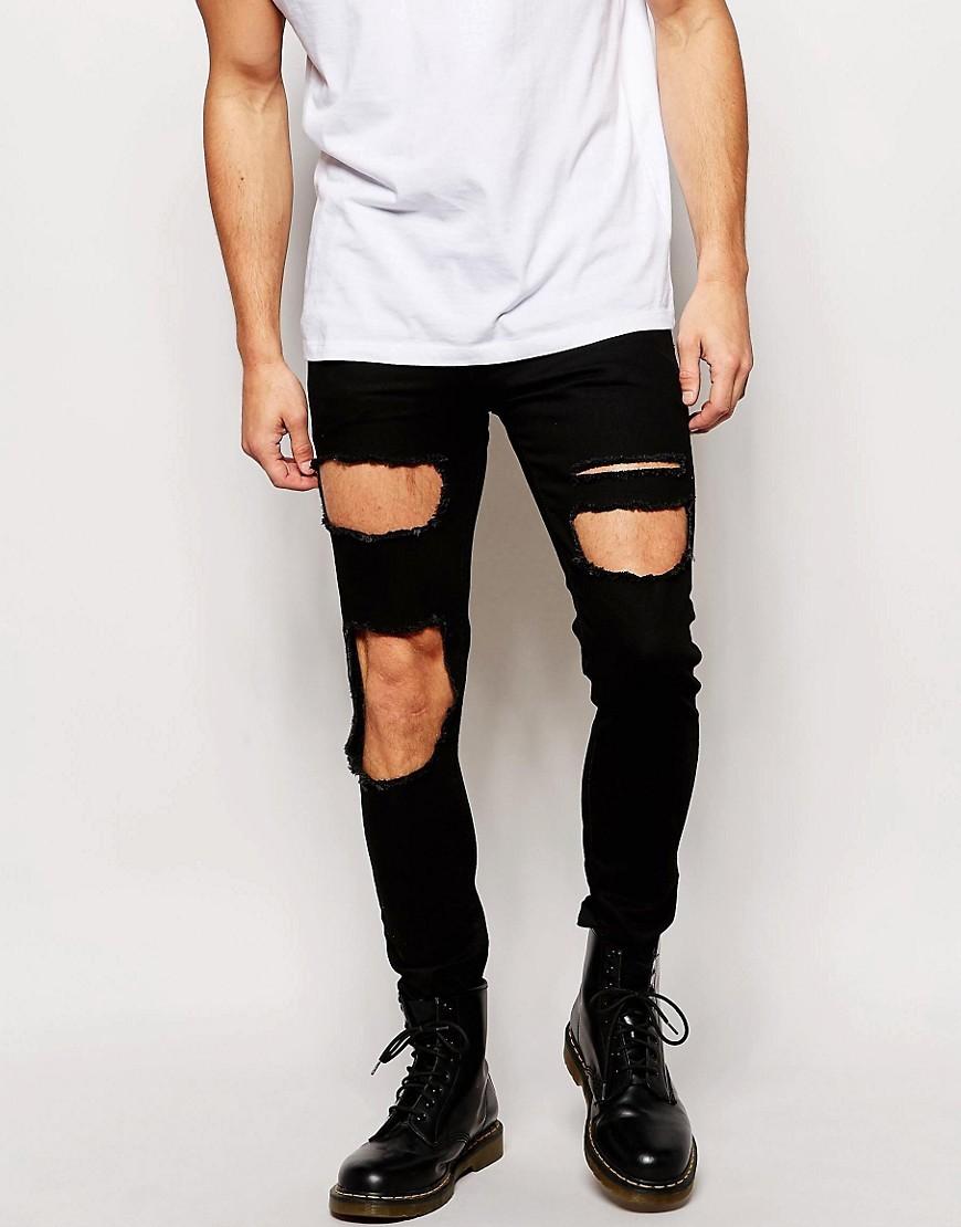 Черные джинсы рваные с дырками на коленях мужские