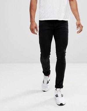 Черные джинсы скинни с заниженной талией