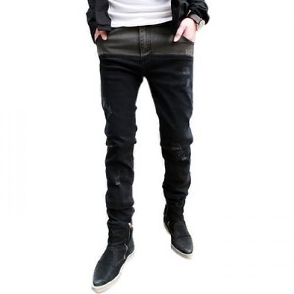 Черные зауженные мужские джинсы