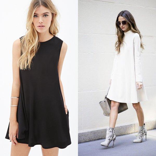 CHernyj-i-belyj-tsvet-odezhdy Платье трапеция, какие модели в моде и с чем его лучше носить