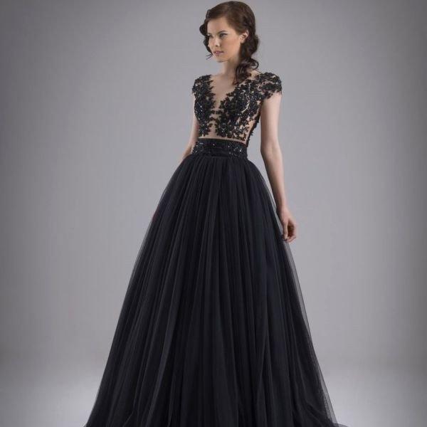 Черный цвет свадебного современного платья