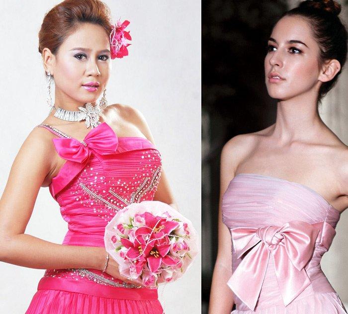 Девушки в свадебных платьях розового цвета