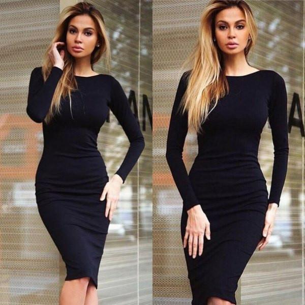 7551e5f6e19 Длина платья миди · Деловой образ при помощи маленького черного платья
