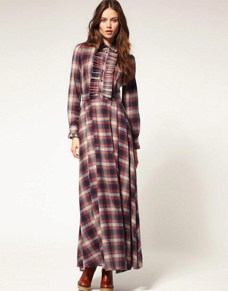 Длинное платье-рубашка в клетку с рюшами
