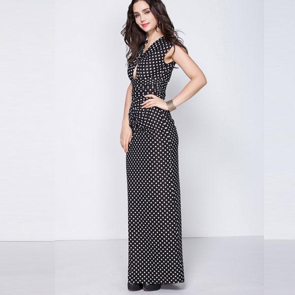 Элегантное черно-белое вечернее платья