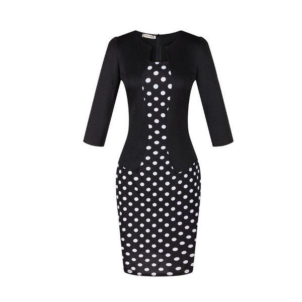 Элегантное черное платье-футляр в белый горох с жакетом-обманкой