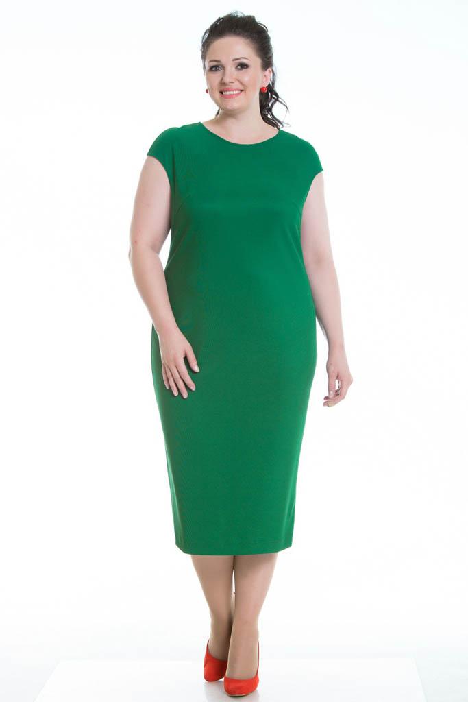 Элегантное платье-футляр из трикотажа ярко-зеленого цвета