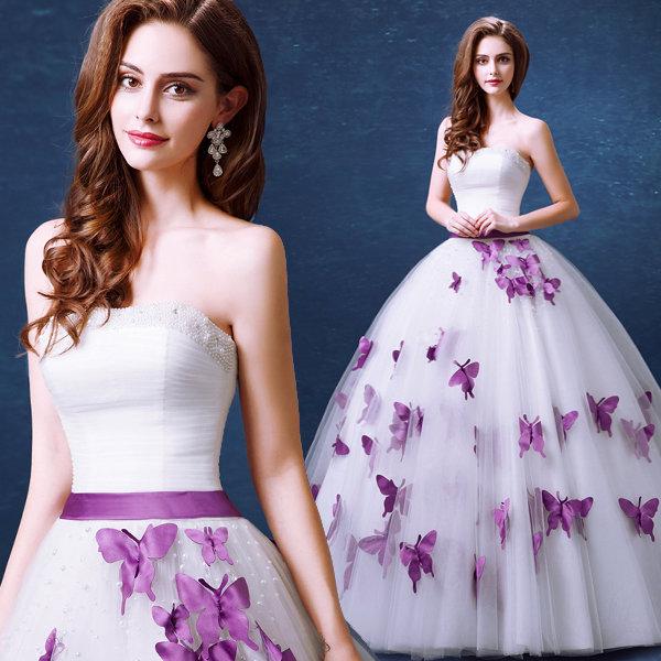 Фиолетовые тона свадебного наряда