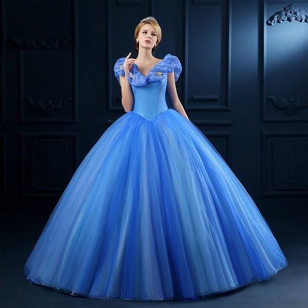 Голубой цвет современного платья для свадьбы
