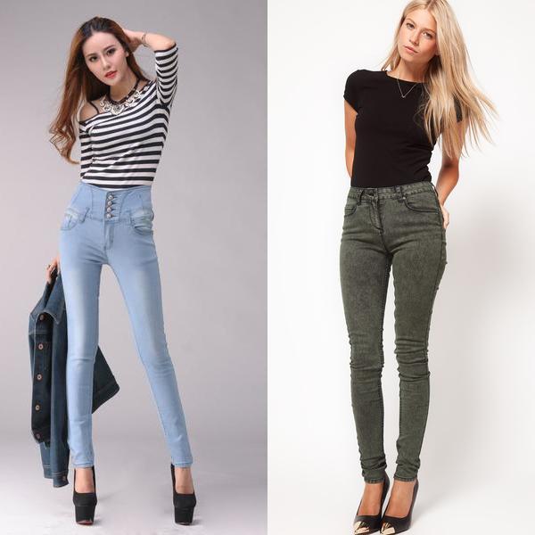 Голубые и зеленые джинсы