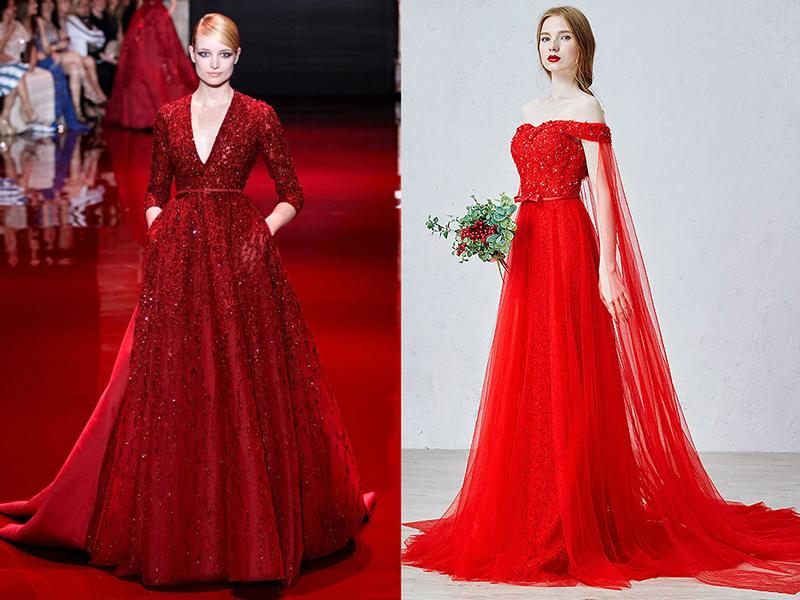 История красных свадебных платьев