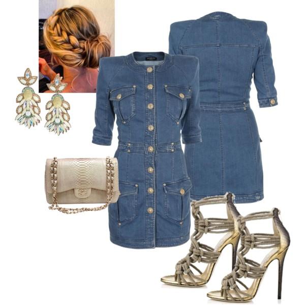 Как носить современное джинсовое платье